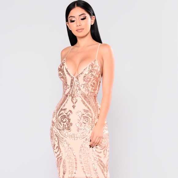 ff6fc40b19dc7 Fashion Nova Dresses & Skirts - Fashion Nova - Rose Gold Ashe Sequin Dress